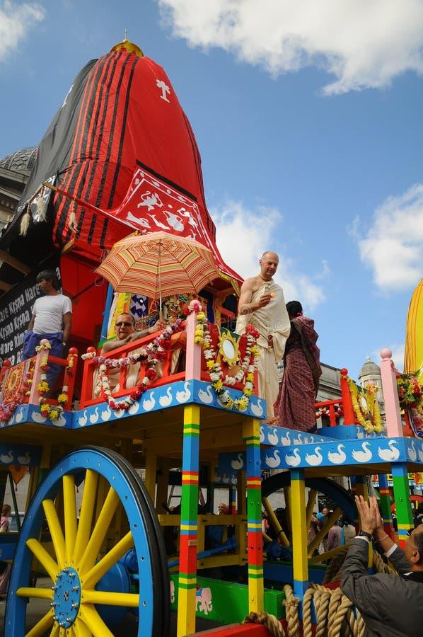 Festival de Krishna de lièvres - contact des amis images stock