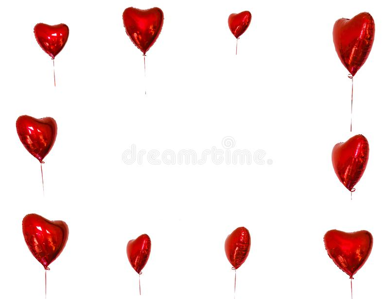 Festival de l'espace de copie des ballons rouges cartes de concept avec les ballons rouges sous forme de coeur photographie stock