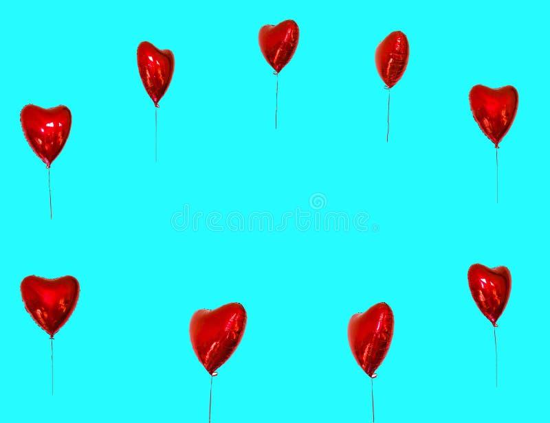 Festival de l'espace de copie des ballons rouges cartes de concept avec les ballons rouges sous forme de coeur photographie stock libre de droits