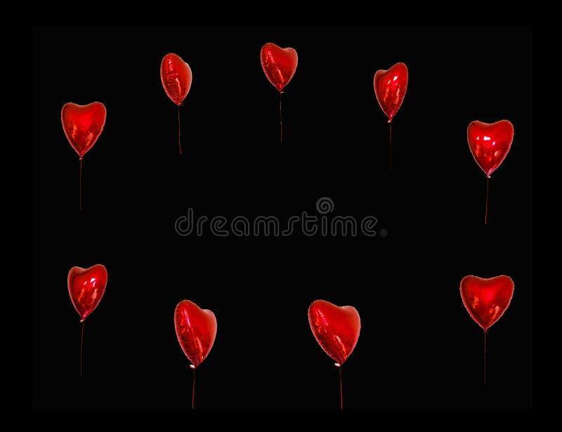 Festival de l'espace de copie des ballons rouges cartes de concept avec les ballons rouges sous forme de coeur photos stock