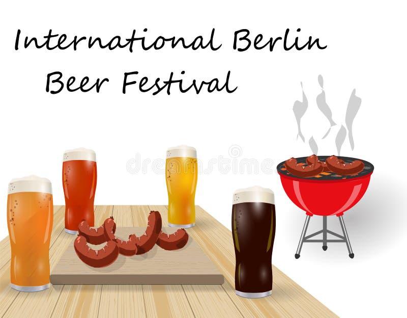Festival de la cerveza Diversos tipos de cerveza en vidrios Ase a la parilla y asó a la parrilla los platos, salchichas, perrito  libre illustration