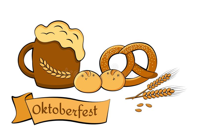 Festival de la cerveza de Oktoberfest Ilustraci?n de color Ejemplo para el vector del banquete ilustración del vector