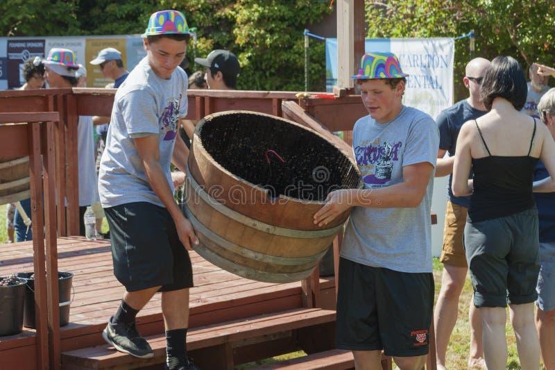 Festival de la cosecha del agolpamiento del vino en Carlton Oregon foto de archivo