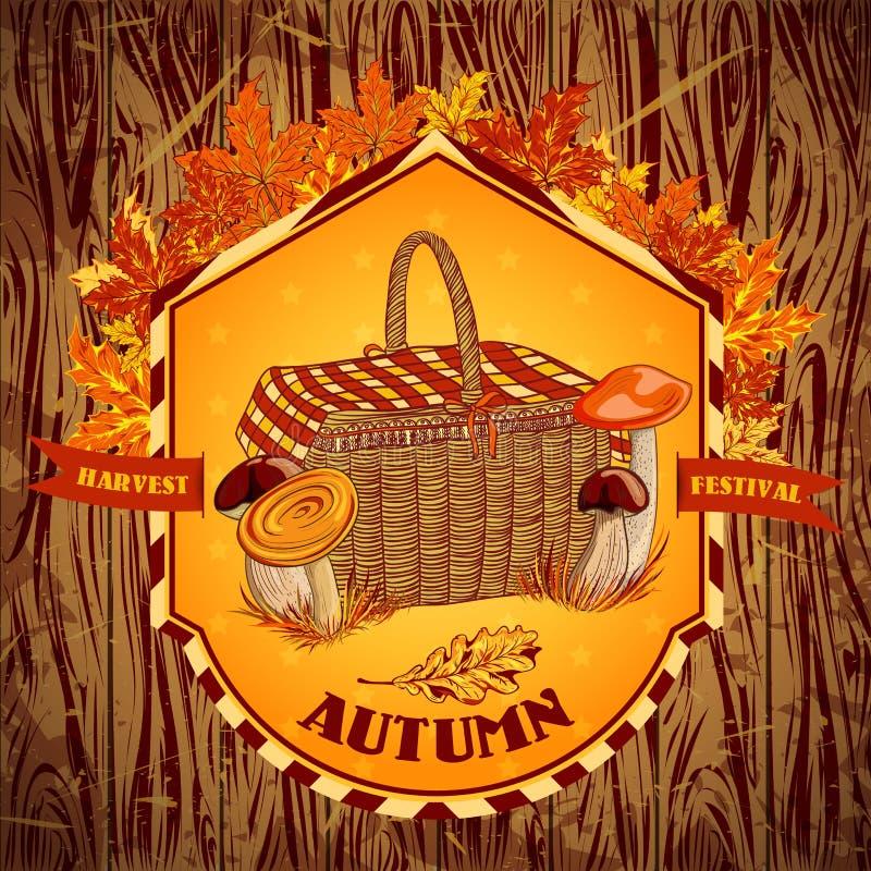 Festival de la cosecha del otoño de la etiqueta del vintage con las setas, la cesta, las hojas de otoño y la hierba en un fondo d ilustración del vector