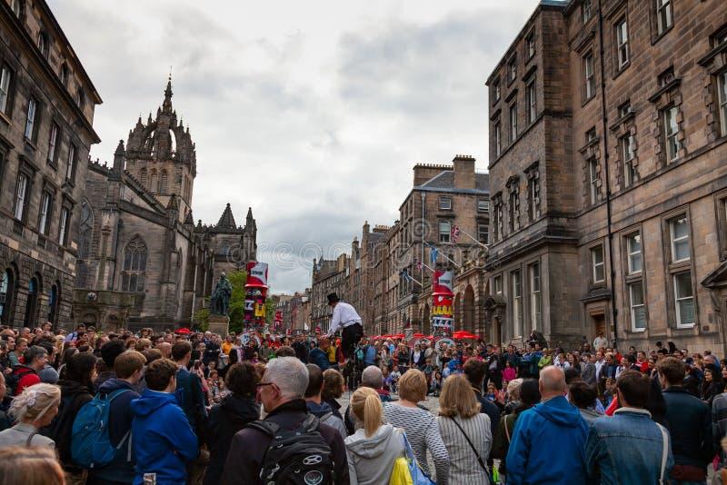 Festival de la franja de Performing At Edinburgh del juglar imagen de archivo