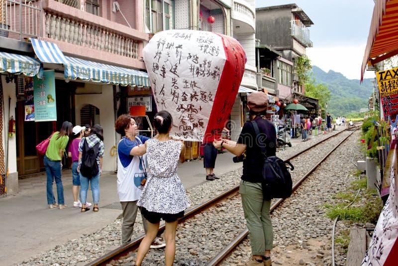 Festival de lanterna de flutuação em Taipei, Formosa foto de stock