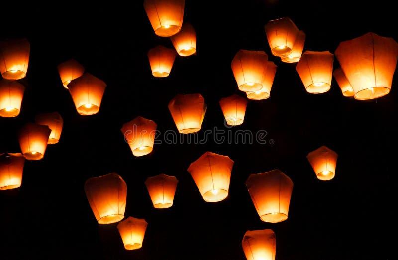 Festival de lanterna do céu em Taipei fotos de stock