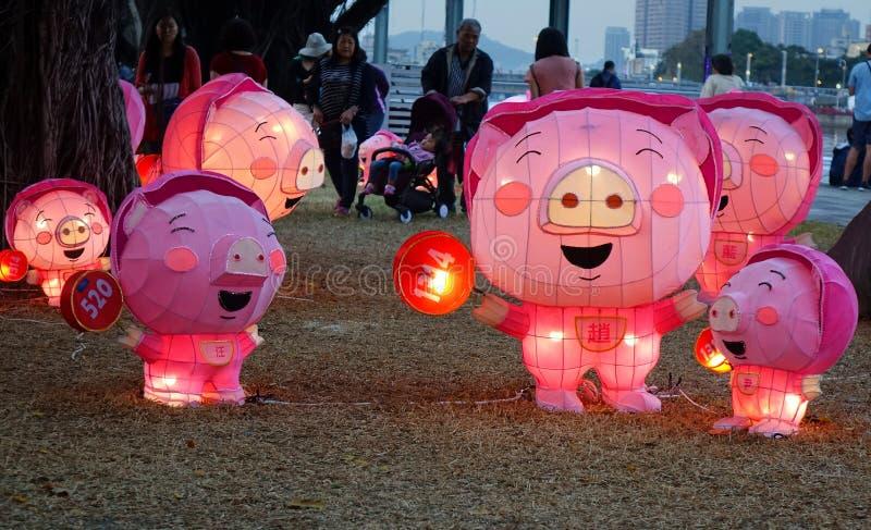 Festival de lanterna pelo ano chinês do porco fotografia de stock royalty free