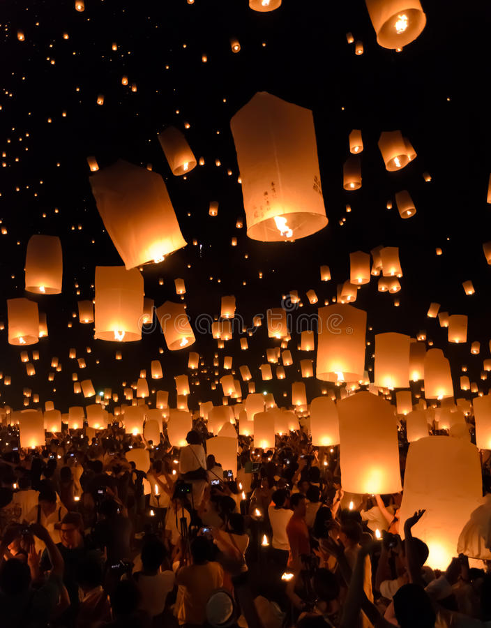 Festival de linternas del cielo, Tailandia fotografía de archivo