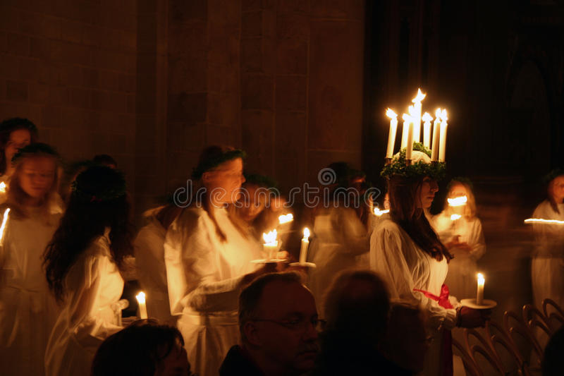 Festival de Lucía en Suecia imagen de archivo