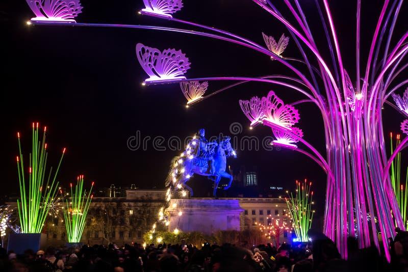 Festival de lumière à Lyon, français images libres de droits