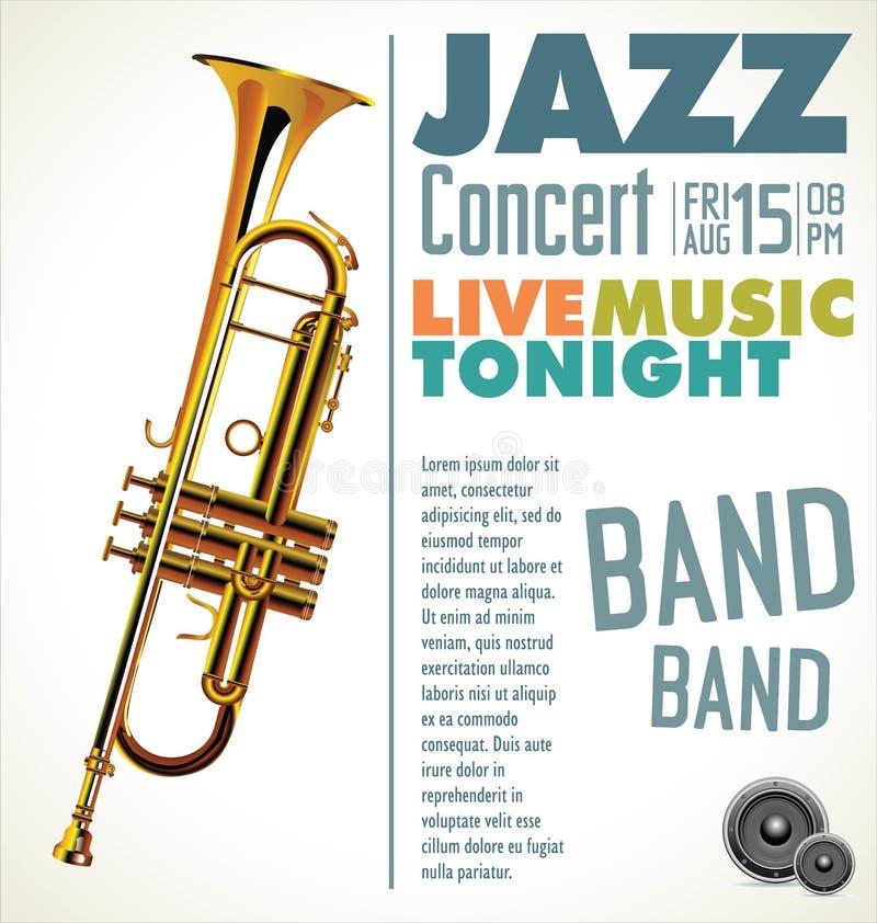 Festival de música de jazz, cartel stock de ilustración