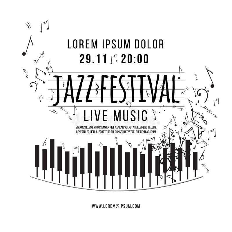Festival de música de jazz, plantilla del fondo del cartel teclado con las notas de la música Vector libre illustration