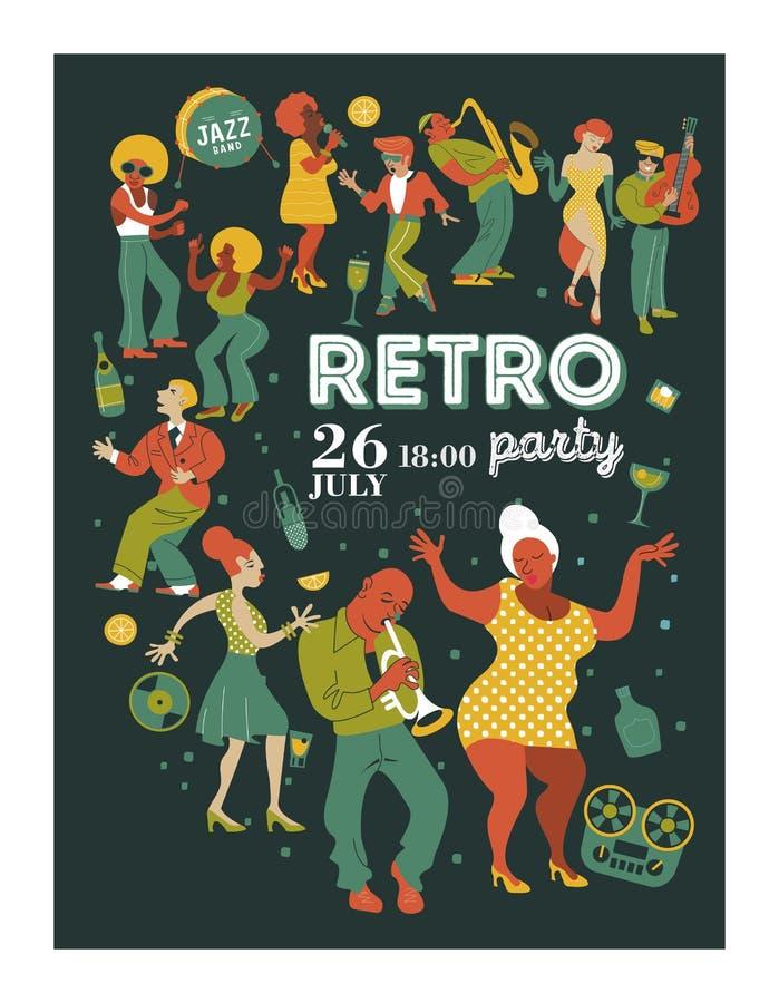 Festival de música do cartaz, partido retro ao estilo dos anos 70, os anos 80 Um grande grupo de caráteres, de músicos, de dançar ilustração do vetor