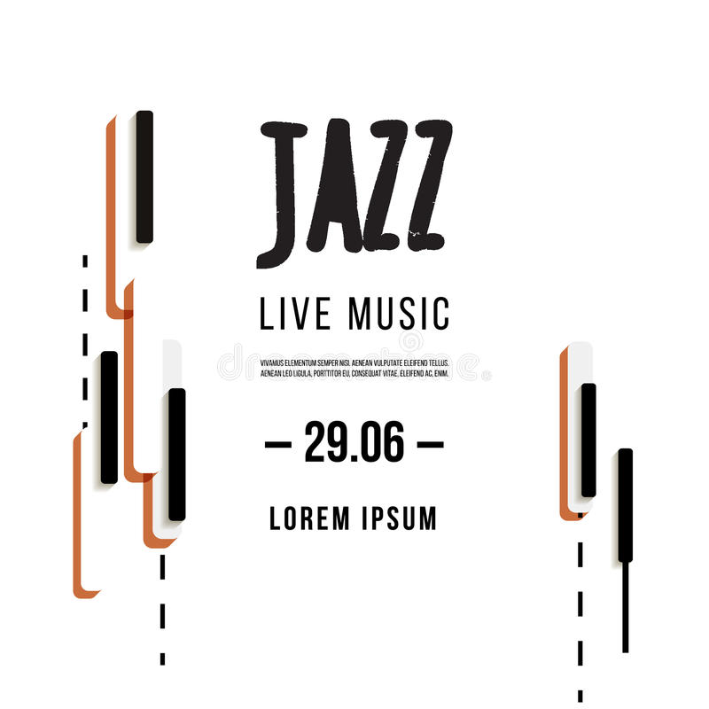 Festival de música jazz, molde do fundo do cartaz Teclado com chaves da música Projeto do vetor do inseto ilustração royalty free