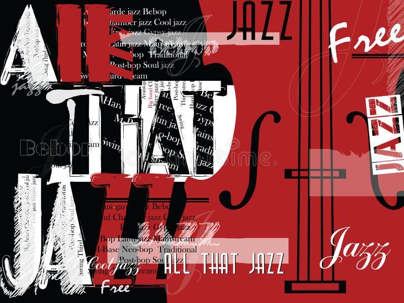 Festival de música de jazz, plantilla del fondo del cartel stock de ilustración