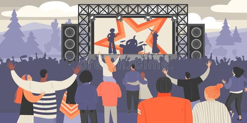 Festival de m?sica do ar aberto Músicos da rocha e multidão de fãs ilustração royalty free