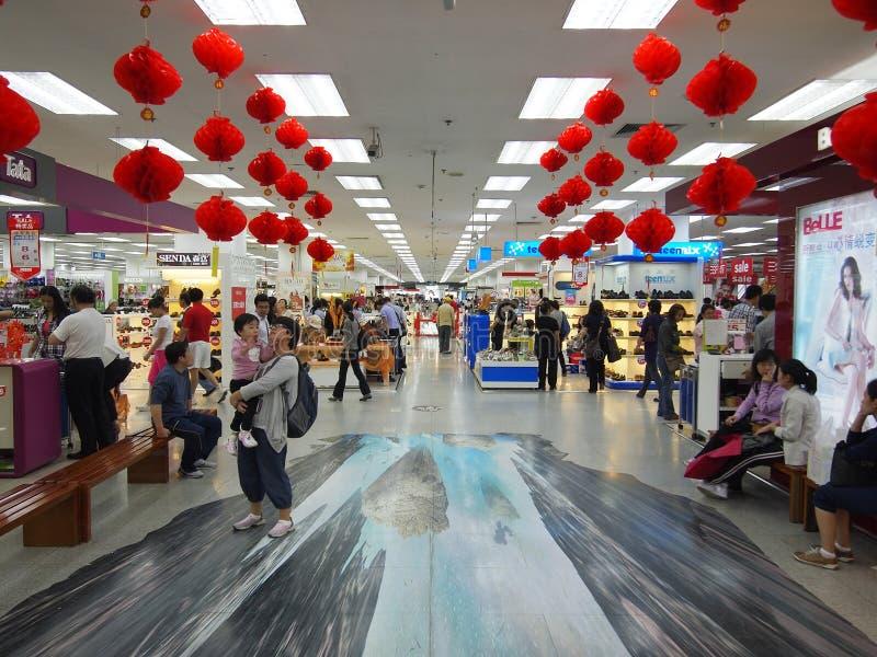 Festival de Mi-Automne, propriétaires dans le centre commercial images libres de droits