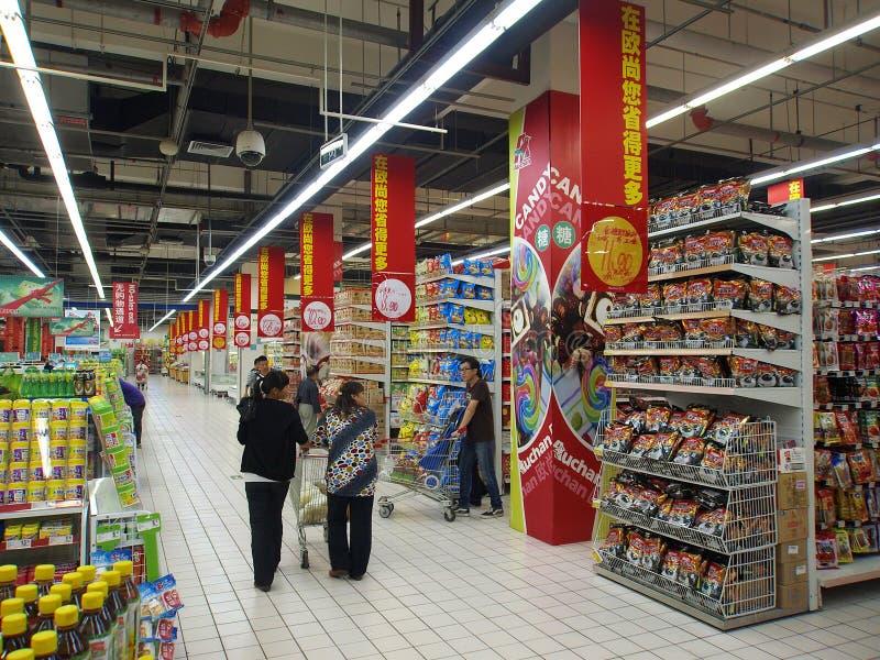 Festival de Mi-Automne, propriétaires dans le supermarché photos stock