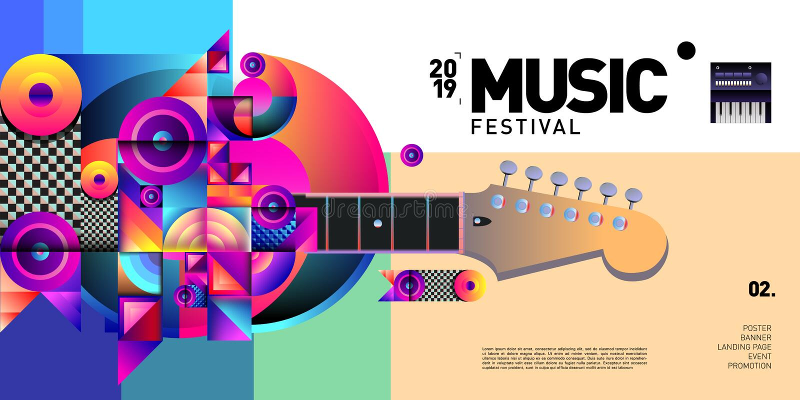 Festival de musique coloré de vecteur pour la bannière et l'affiche d'événement illustration de vecteur