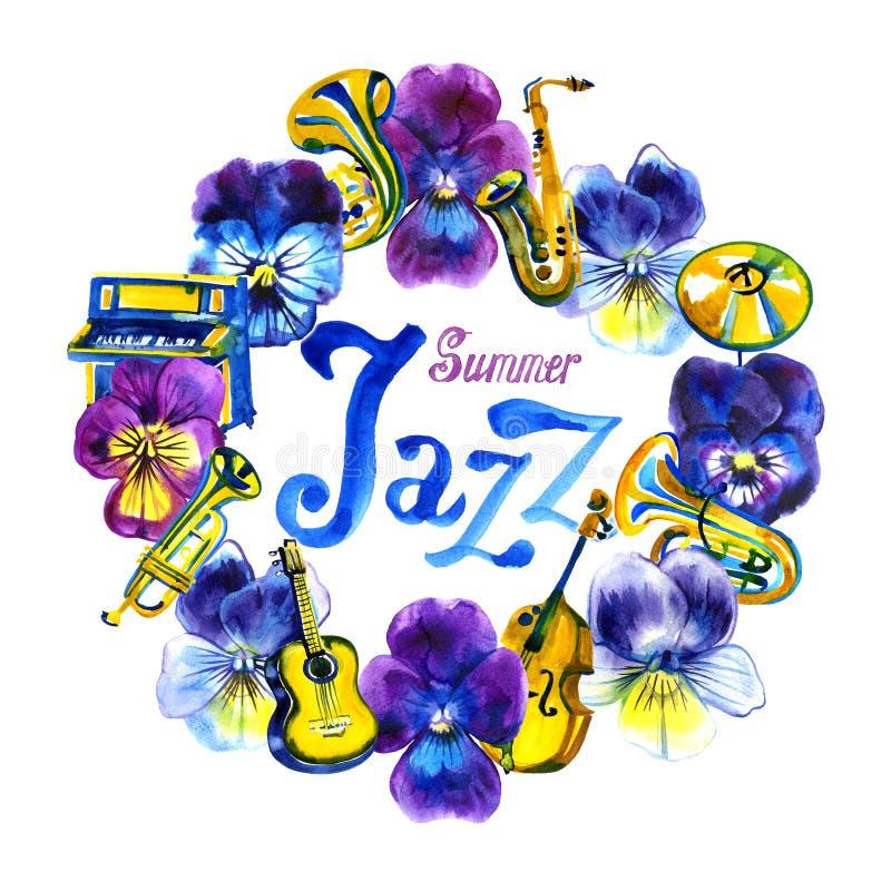 Festival de musique de jazz et de bleus de concert d'été Cadre d'aquarelle Calibre de fond d'affiche illustration de vecteur