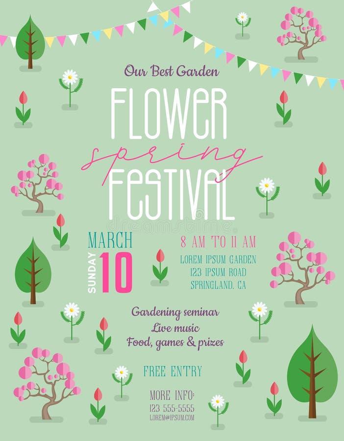 Festival de primavera de la flor que anuncia la plantilla del cartel ilustración del vector