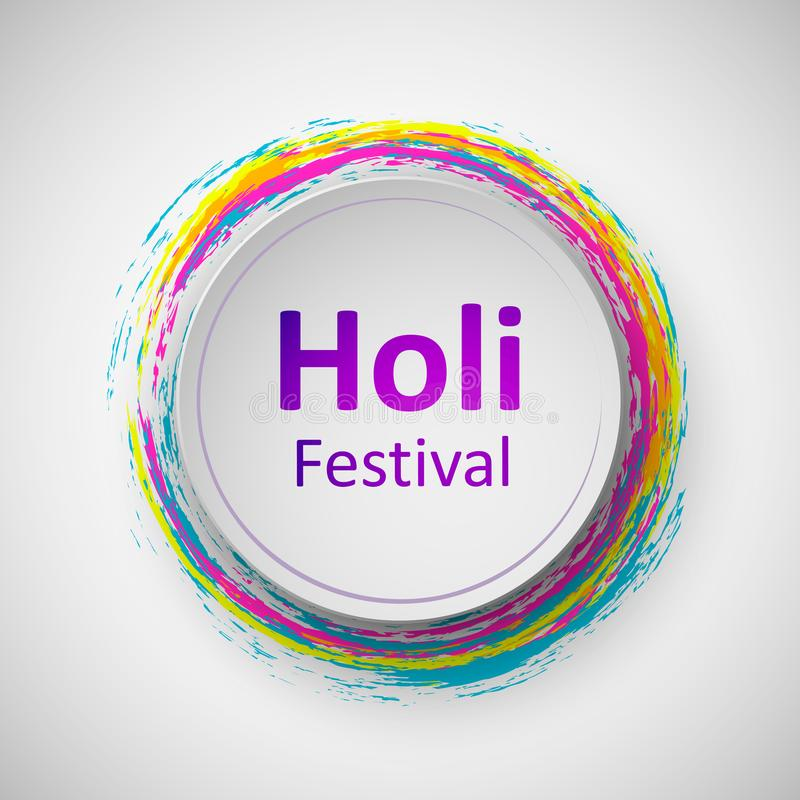 Festival de printemps indien heureux de Holi de couleurs Dirigez l'illustration ou le fond et l'insecte colorés pour le festival  illustration de vecteur