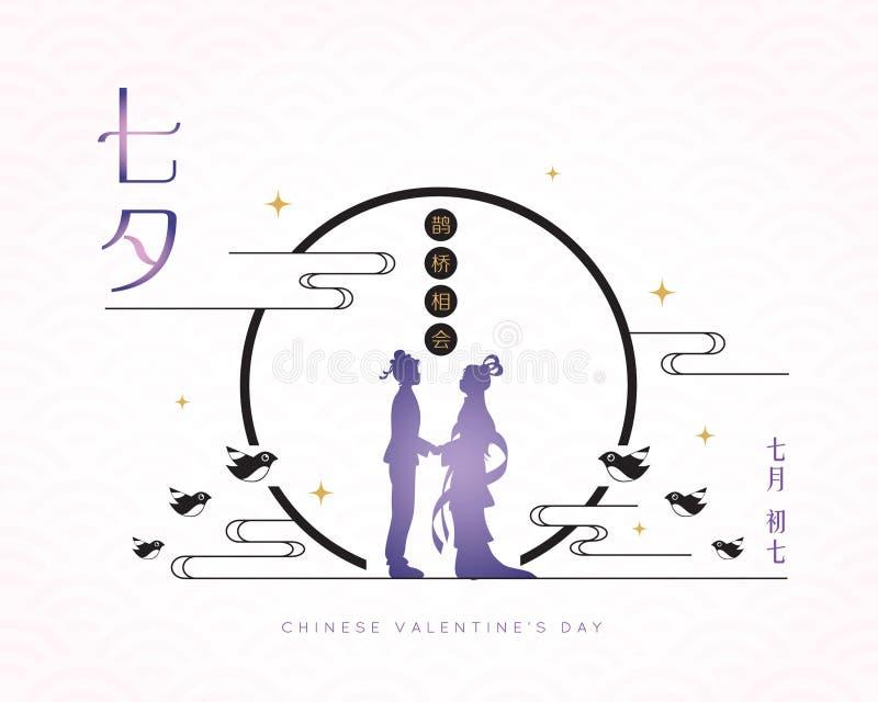 Festival de Qixi o el día de tarjeta del día de San Valentín chino - muchacha del cowherd y del tejedor stock de ilustración