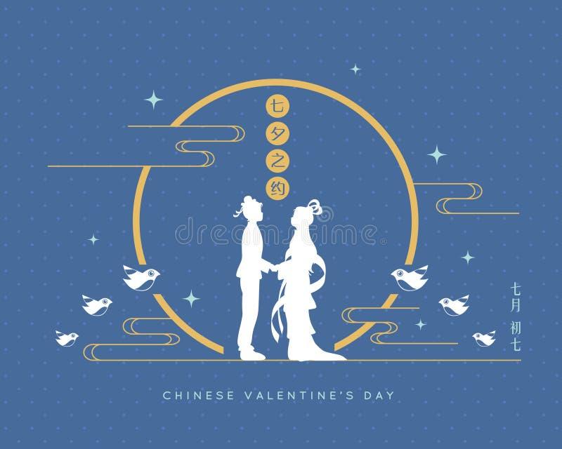 Festival de Qixi ou jour de valentine chinois - fille de vacher et de tisserand illustration libre de droits