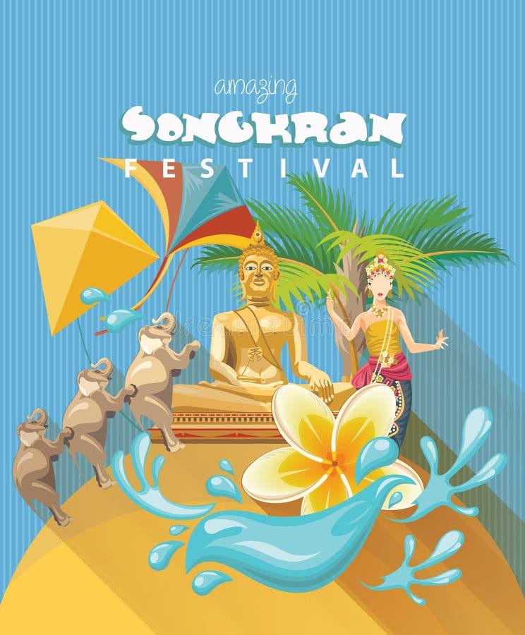 Festival de Songkran em Tailândia Feriados tailandeses ilustração royalty free