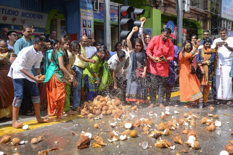 Festival de Thaipusam à Georgetown, Penang, Malaisie images libres de droits