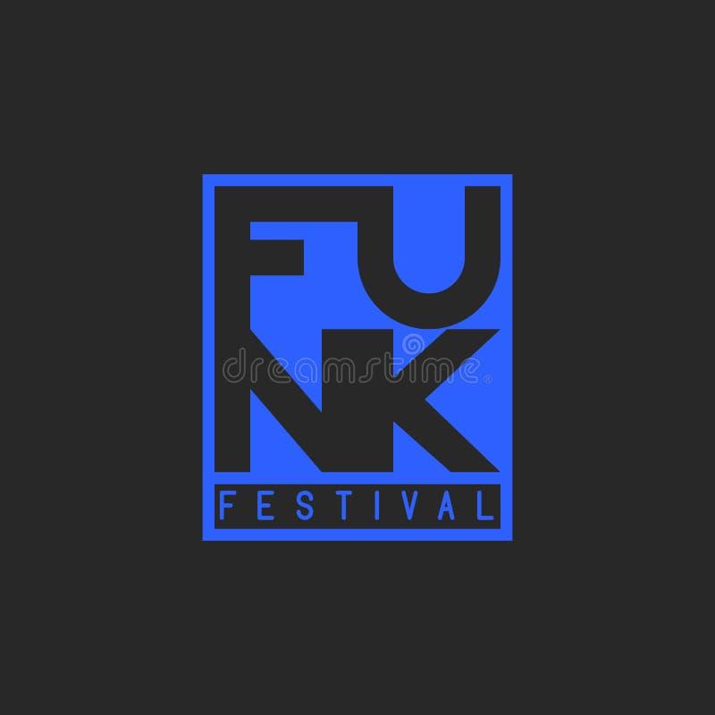 Festival de trouille dans le style grunge de la musique de trouille de mot Typographie musicale, emblème d'impression des textes  illustration de vecteur