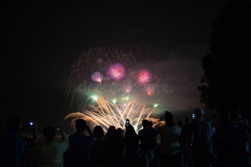 Festival de Vancouver del fuego artificial de la celebración del concepto fotografía de archivo