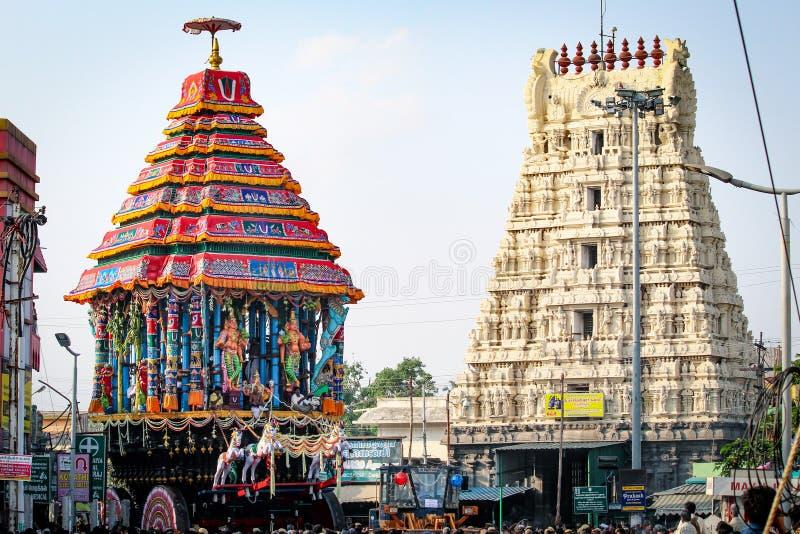 Festival de Varadharajar Ther de Kanchipuram foto de stock