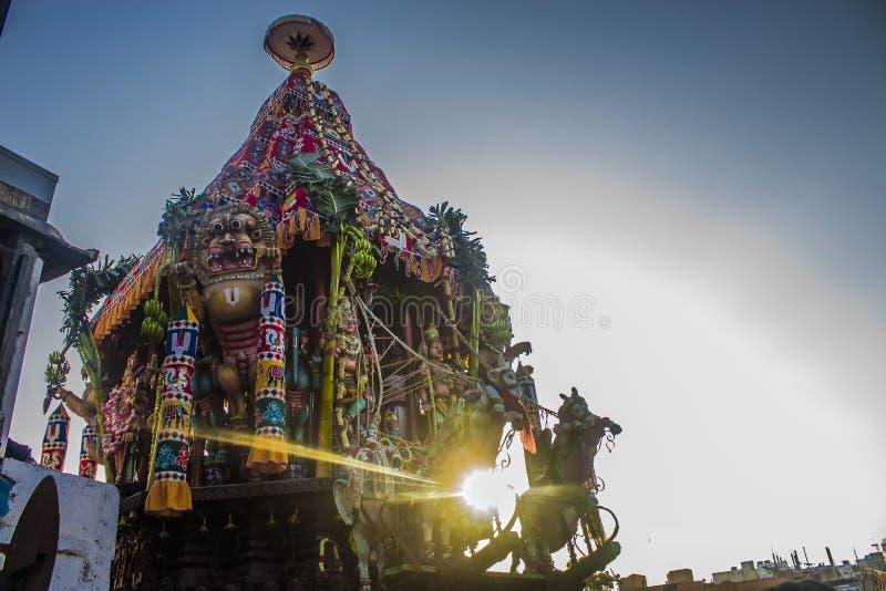 Festival de voiture de temple de Parthasarathi, Triplicane, Chennai images libres de droits