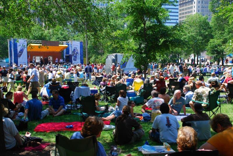 Festival degli azzurri del Chicago fotografia stock