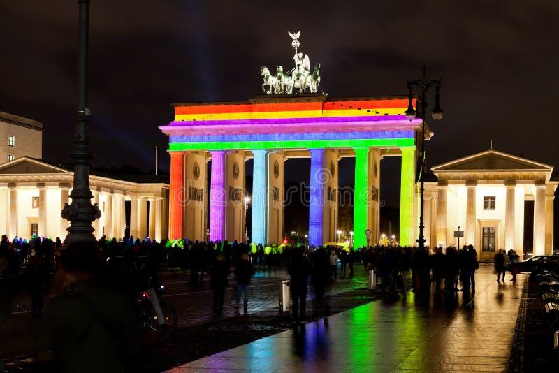 Festival del anf de la puerta de Brandeburgo de luces en Berlín foto de archivo