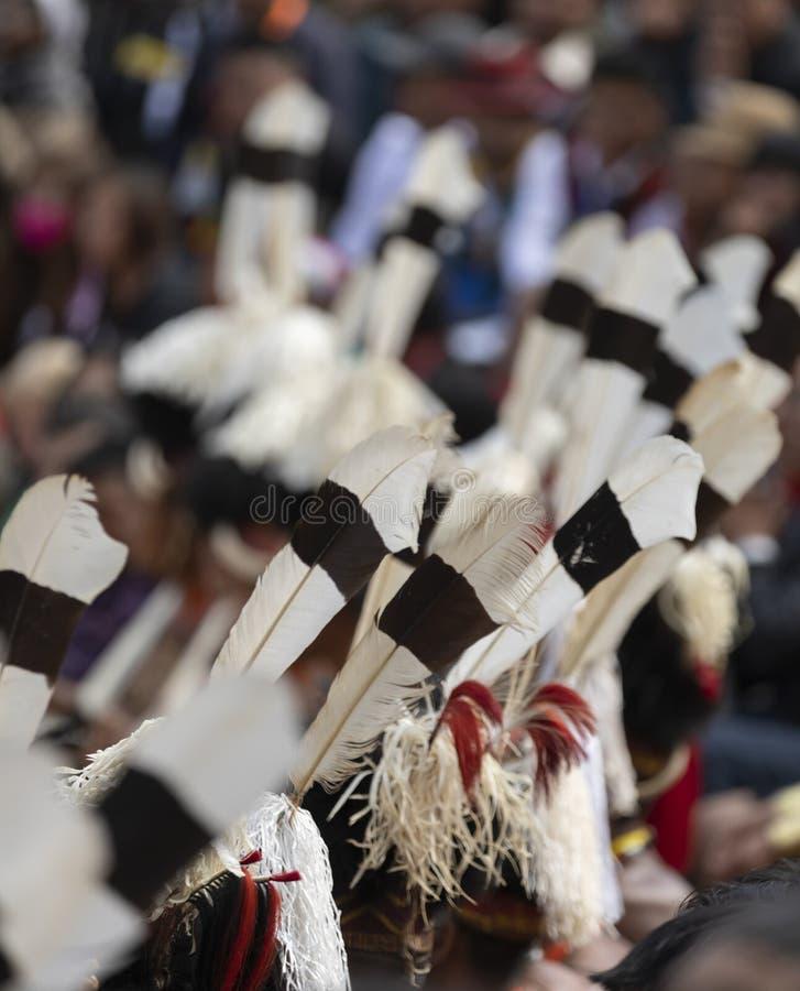 Festival del bucero Nagaland, India: 1° dicembre 2013: Piume di uccello del bucero utilizzate nei cappelli tribali del Naga tradi immagine stock libera da diritti