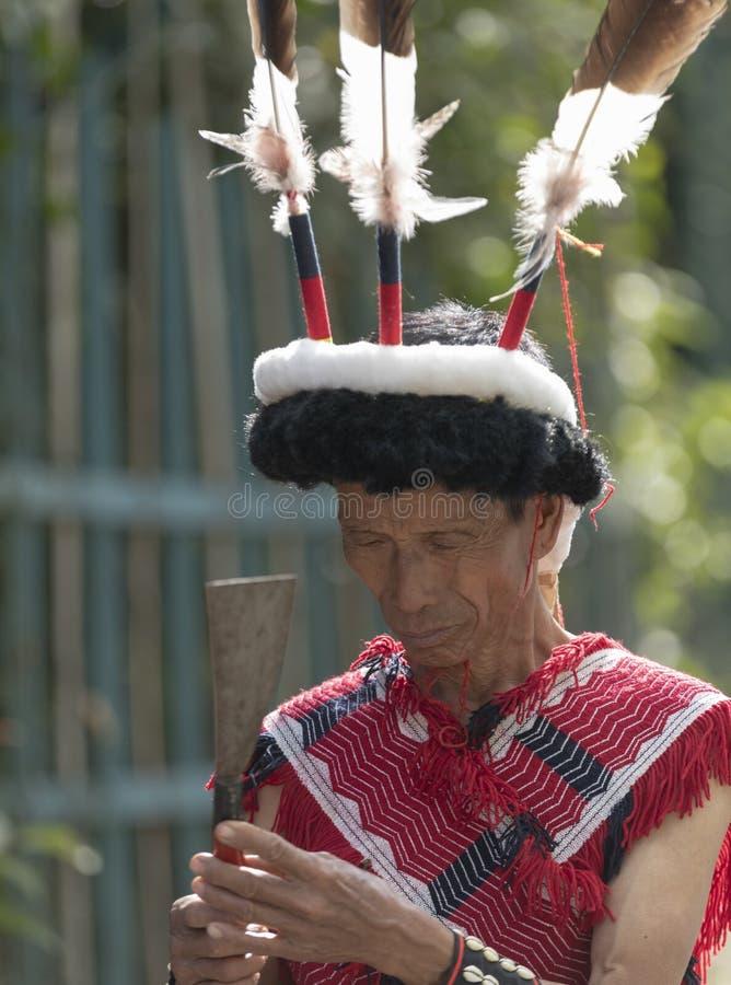 Festival del bucero Nagaland, India: 1° dicembre 2013: Uomo tribale del Naga che controlla l'arma di heas al festival del bucero fotografia stock