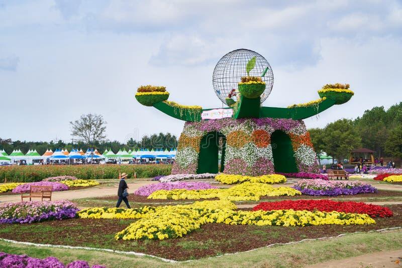 Festival del crisantemo en parque ideal imagen de archivo