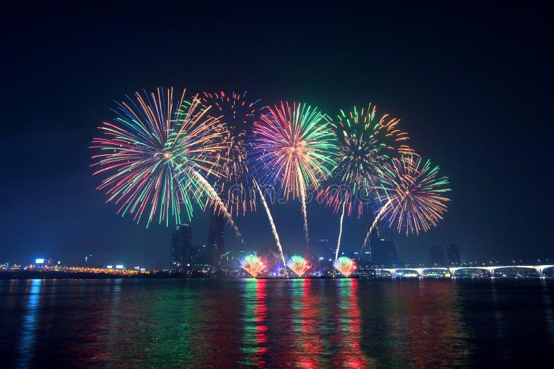 Festival del fuoco d'artificio in Corea fotografia stock libera da diritti