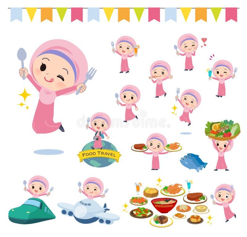Festival del girl_food de Hijab del árabe ilustración del vector