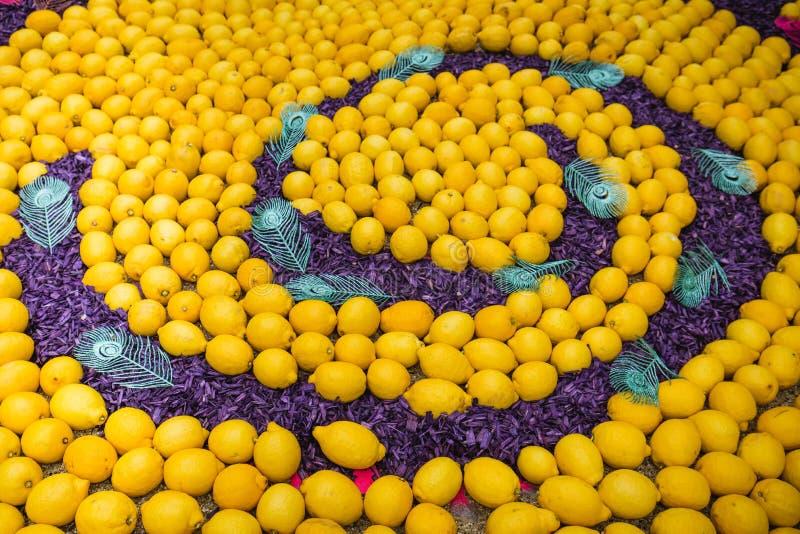 Festival 2018 del limone di Menton, arte di tema di Bollywood fatta dei limoni ed arance, pavone a spirale del primo piano immagine stock libera da diritti