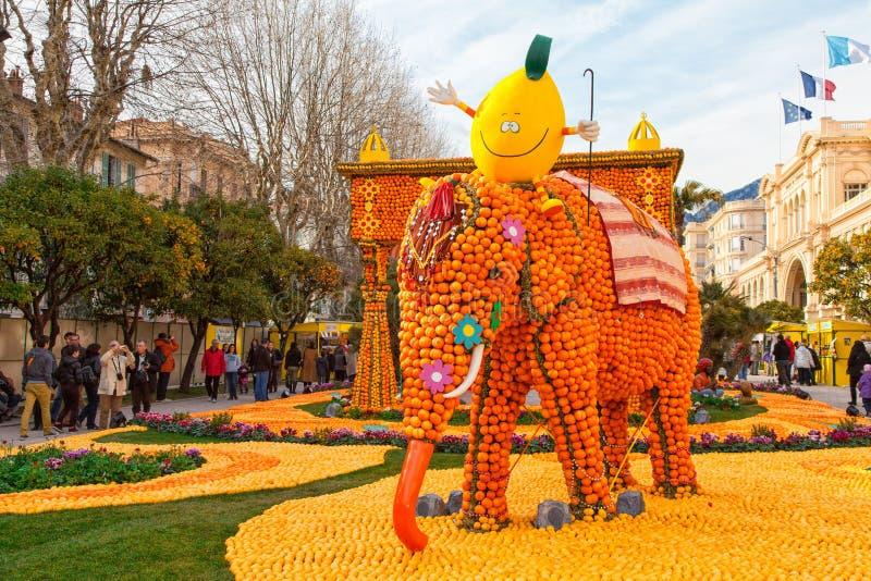 Festival del limone (Fete du Citron) in Menton, Francia fotografia stock libera da diritti
