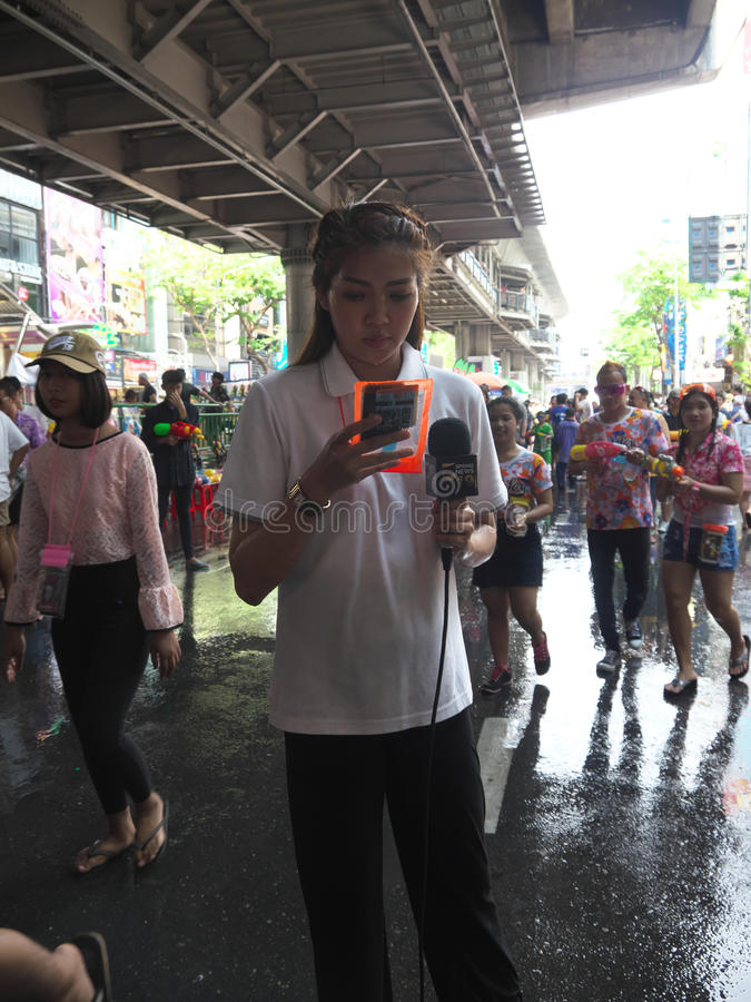 Festival dell'acqua di Songkran alla strada di Silom fotografia stock