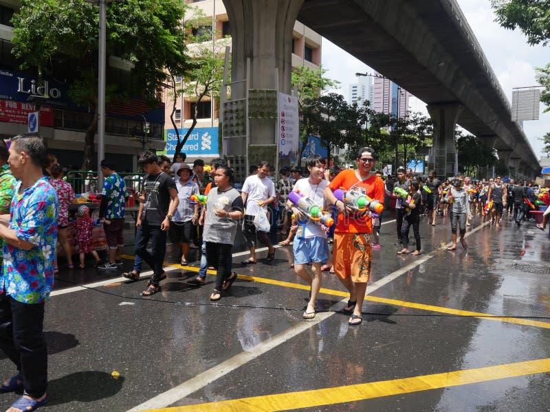 Festival dell'acqua di Songkran alla strada di Silom immagine stock libera da diritti
