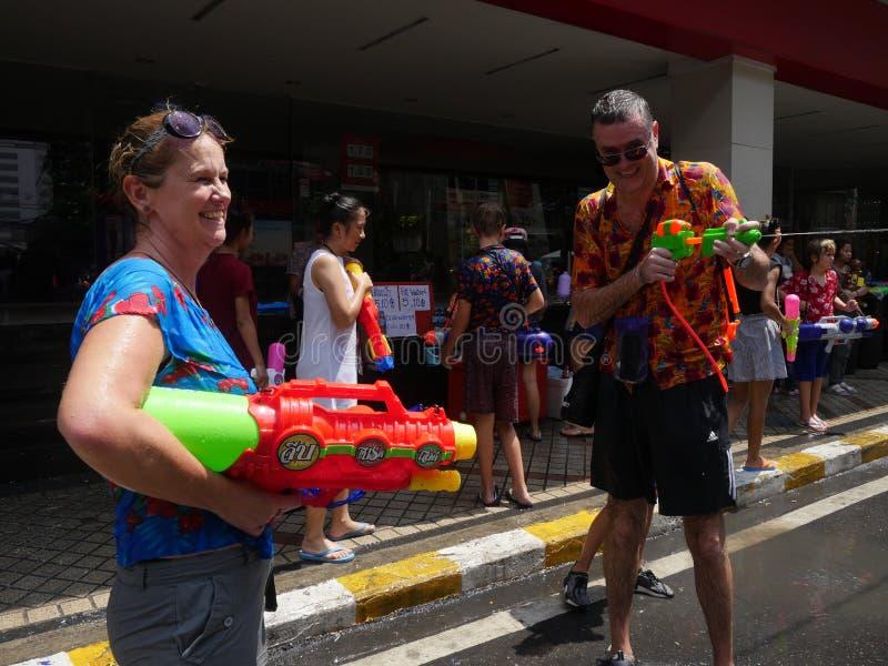 Festival dell'acqua di Songkran alla strada di Silom fotografia stock libera da diritti