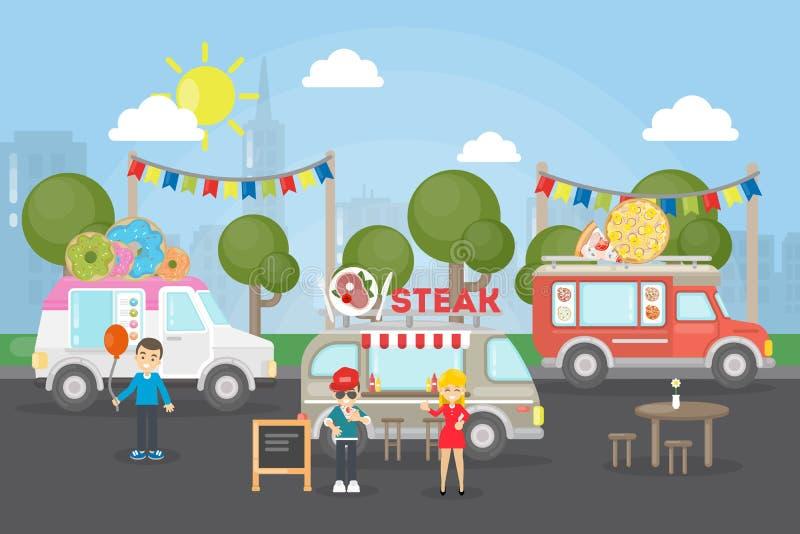 Festival dell'alimento del parco illustrazione di stock