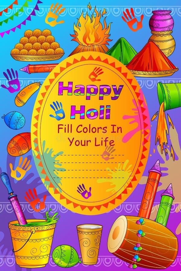 Festival dell'India del fondo felice di Holi di colore illustrazione di stock