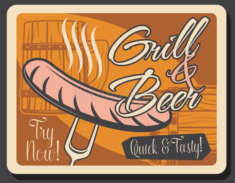 Festival dell'Oktoberfest: birra artigianale e salsiccia per grill illustrazione vettoriale